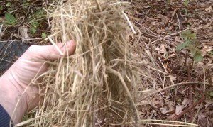 Fold the hay over so both ends face downward