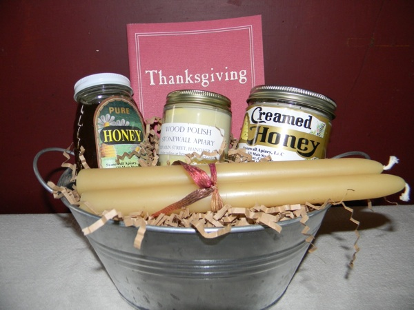 Thanksgiving Gift Basket - 1/2 lb. honey, 1/2 lb. creamed honey, beeswax wood polish, pair of 8-in. tapers, Thanksgiving, by Glenn Alan Cheney